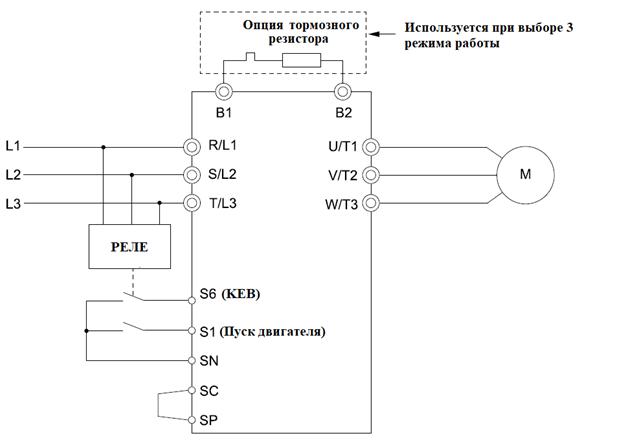 Схема преобразователя частоты YASKAWA при использовании функции KEB