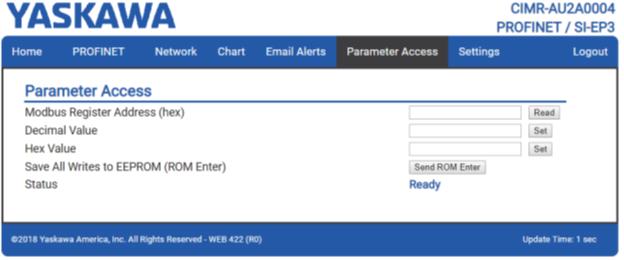 Пример страницы доступа к параметрам (Parameter Access) ПЧ YASKAWA с платой SI-EP3