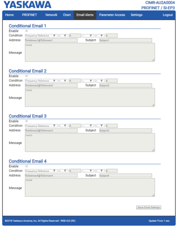 Пример страницы оповещений по электронной почте (Email Alerts) ПЧ YASKAWA с платой SI-EP3
