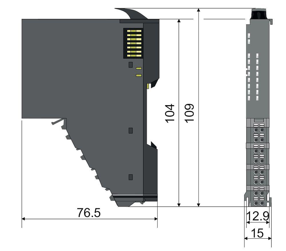 Габаритные размеры 16 канальных модулей ввода-вывода SLIO